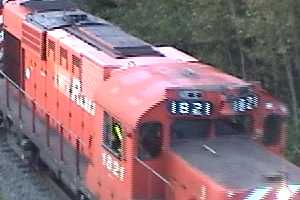 NB East Coast Railway train 587 leaving Bathurst, 2007/09/14